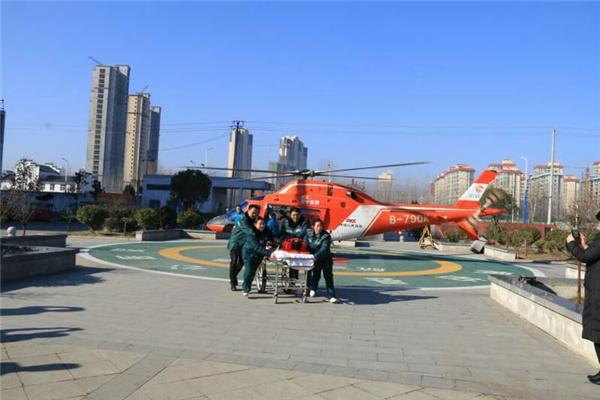 桐柏紧急航空救援在县中心医院启动