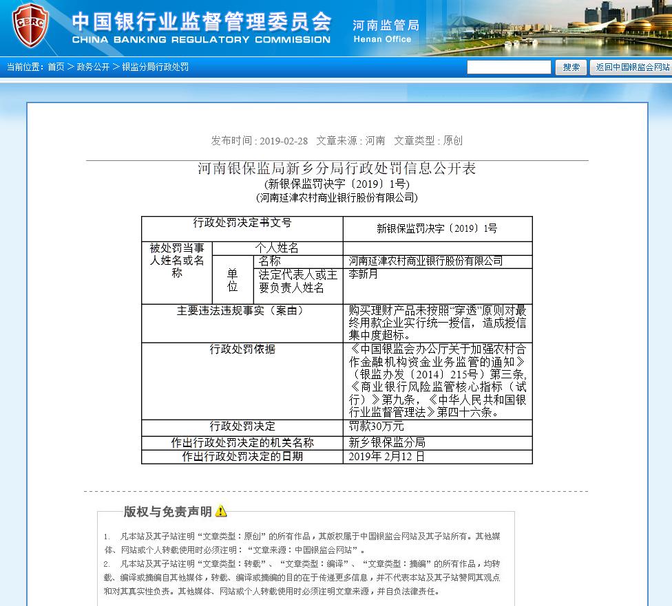 因授信集中度超标 河南延津农村商业银行被罚30万元!