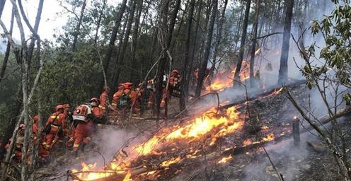 四川冕宁发生森林火灾 255名消防指战员前往扑救